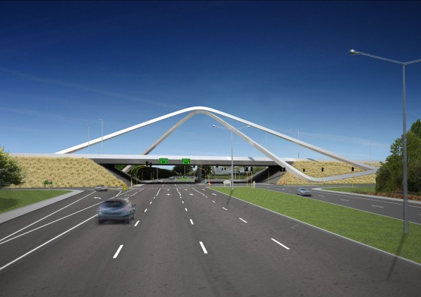 Artist's impression of the completed Russley Road/ Memorial Ave Arches